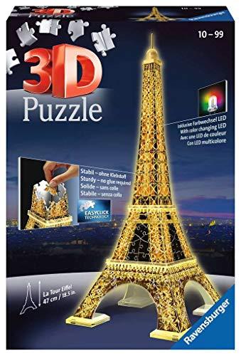 Ravensburger 12579 3D Puzzle Eiffelturm bei Nacht mit 216 Teilen, für Kinder und Erwachsene, Wahrzeichen...