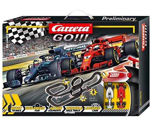 Carrera GO!!! No Limits – Elektrische Formel1 Rennbahn mit 2 Slotcars – Coole Ferrari & Mercedes...