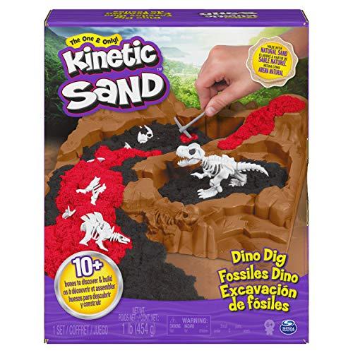 Kinetic Sand 6055874 - Dino Dig Spielset mit 10 versteckten Dinosaurierknochen zum Entdecken, für Kinder...