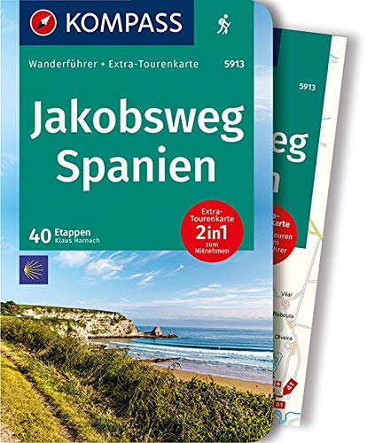 KOMPASS Wanderführer Jakobsweg Spanien: Wanderführer mit Extra-Tourenkarte 1:110.000, 40 Etappen,...
