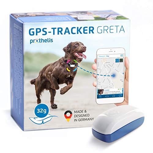Prothelis Greta Hunde GPS Tracker Mini Peilsender mit App 32g leicht wasserdicht   Tracking GPS für...