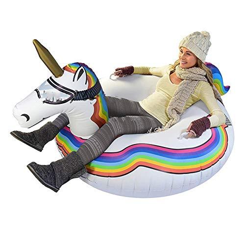 LTongx Unicorn Riesen Snow-Tube, Erwachsene Kinder aufblasbare Ski Einhorn Sleigh Ring Verschleißfest...
