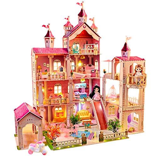Puppenhaus Spielzeug Sets,mit 49 Stück Möbelzubehör und Lichtern. 4 Etagen Großes...