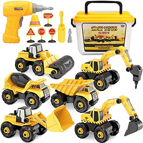 Vanplay Montage Große LKW Spielzeug DIY 6-in-1 BAU Bagger Spielzeug mit Elektrische Bohrmaschine...