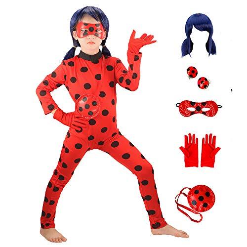 GREAHWD Mädchen Marienkäfer Kostüm Perücke Kinder Halloween Karneval Kostüme für Kinder Overall...