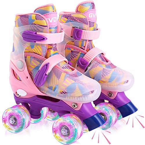 GVDV Rollschuhe Mädchen Verstellbar - LED Roller Skates Beleuchtete für Kinder und Jugendliche, Quad...