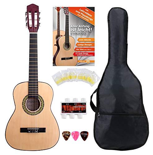 Classic Cantabile Acoustic Series AS-851-L Klassikgitarre 1/2 für Linkshänder Starter-SET...
