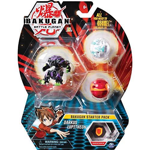 Bakugan Starter Pack mit 3 Bakugan (Ultra Darkus Lupitheon, Basic Pyrus Gorthion, Basic Haos Trox)