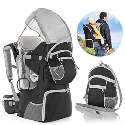 Fillikid Rückentrage - Rücken Babytrage mit Sonnenschutz, Gurt, Kinder Rucksack und Staufächern -...