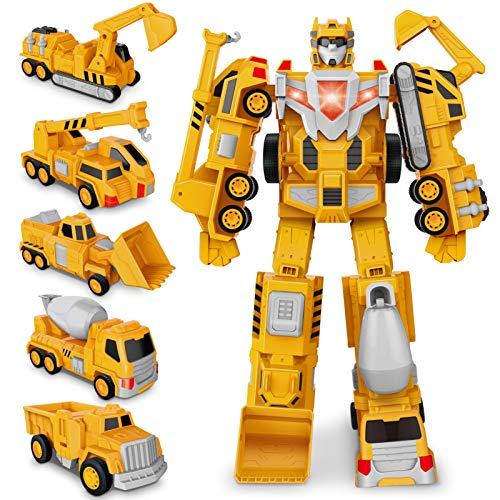 Transformer Roboter Auto Spielzeug Truck, BAU Assemble Toy Kleinkind Pull Back Play Fahrzeuge, Dump,...