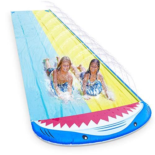 Magicfun Wasserrutsche, 4.8 x 1.4M Doppel Wasserbahn im Hai-Stil, Wasserrutschmatte Outdoor...