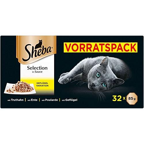 Sheba Selection in Sauce – Katzenfutter mit Geflügelhäppchen in Sauce für ausgewachsene Katzen –...