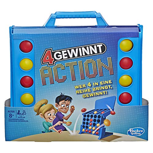 Hasbro Gaming E3578100 4 gewinnt Action, temporeiches Kinderspiel, blau