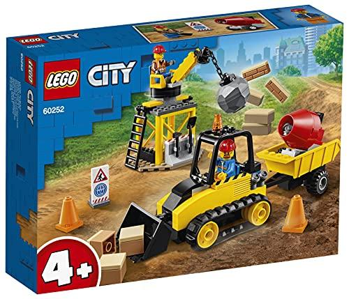 LEGO 60252 City Bagger auf der Baustelle, Spielzeug mit Starter-Steinen und Kran für Vorschulkinder ab 4...