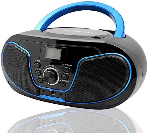 Tragbare CD-Player für Kinder Bluetooth Boombox mit UKW-Radio,USB Eingang, Aux-in, Kopfhörer, 2 x 2Watt...