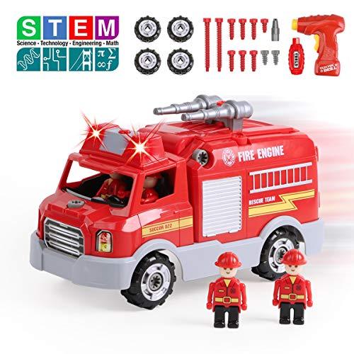 REMOKING Auto Spielzeug für Kinder, Feuerwehrauto Fahrzeuge mit Ton und Licht, Montage Spielzeug mit...