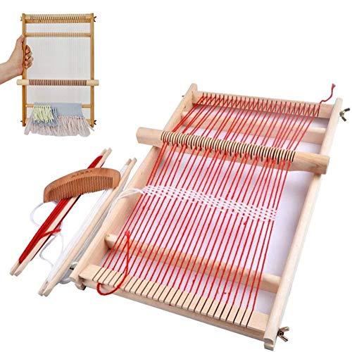 BangShou Webrahmen Holz Webstuhl Set für Kindern und Erwachsene Schulwebrahmen Holzwebrahmen mit Fäden,...
