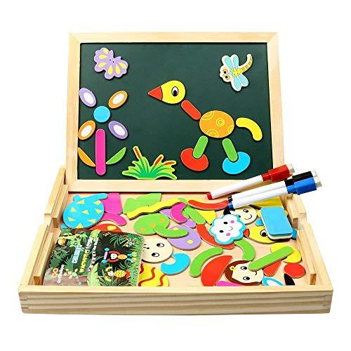 Magnetisches Holzpuzzle, Puzzle Holz Spiele mit Doppelseitiger Tafel und 3 Bunte Stifte für Zeichnung,...