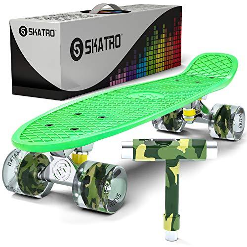 Skatro - Mini-Cruiser-Skateboard. 22 Zoll Kunststoff-Board im Retro-Stil, komplett mit