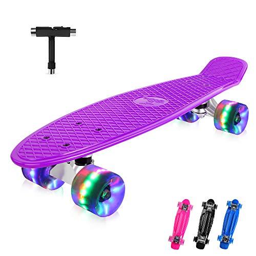 BELEEV Skateboard 22 Zoll Komplette Mini Cruiser Retro Skateboard für Kinder Jugendliche Erwachsene, LED...
