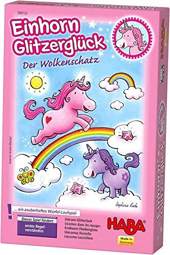 HABA 300123 - Einhorn Glitzerglück Der Wolkenschatz, zauberhaftes Würfelspiel mit 60 Glitzerkristallen...