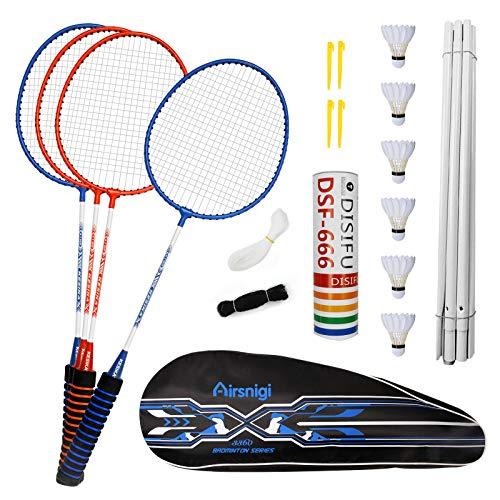 Airsnigi Badminton Set, 4er Profi Badmintonschläger mit 4 Federbälle Set, Leichtgewicht Badminton...