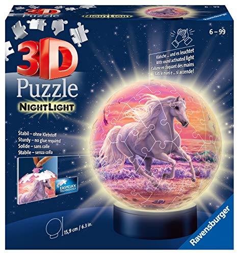Ravensburger 3D Puzzle 11843 - Nachtlicht Puzzle-Ball Pferde am Strand - 72 Teile - ab 6 Jahren, LED...
