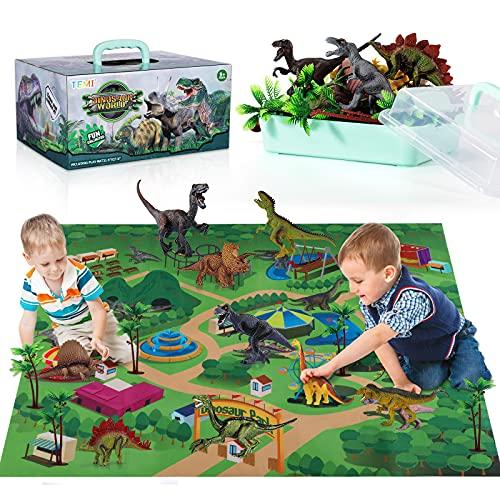 TEMI Dinosaurier Spielzeugfigur mit Aktivität Spielmatte & Bäume, pädagogisch realistisches...