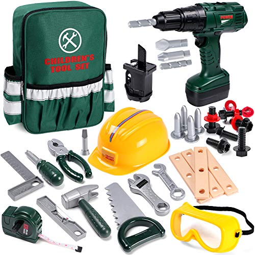 Toyssa 32Stk. Kinder Werkzeug Spielzeug Set Spielwerkzeug mit Werkzeugtasche Bohrmaschine Spielzeug...