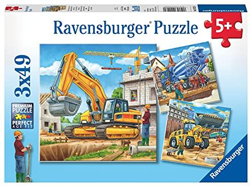 Ravensburger Kinderpuzzle - 09226 Große Baufahrzeuge - Puzzle für Kinder ab 5 Jahren, mit 3x49 Teilen