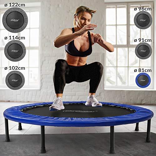 Physionics® Mini Trampolin - Durchmesser Ø 81 91 96 102 114 122 cm, max. Belastbarkeit 100 kg, mit...