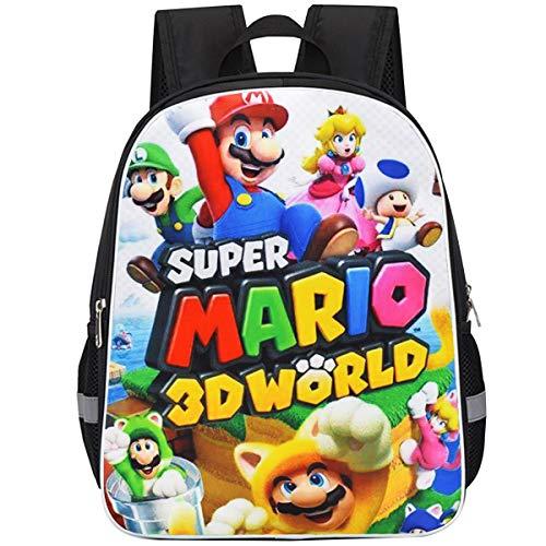 ZSWQ Super Mario Mädchen Jungen Schulrucksack Cartoon Super Mario wasserdichte Reisetasche Passend Anime...