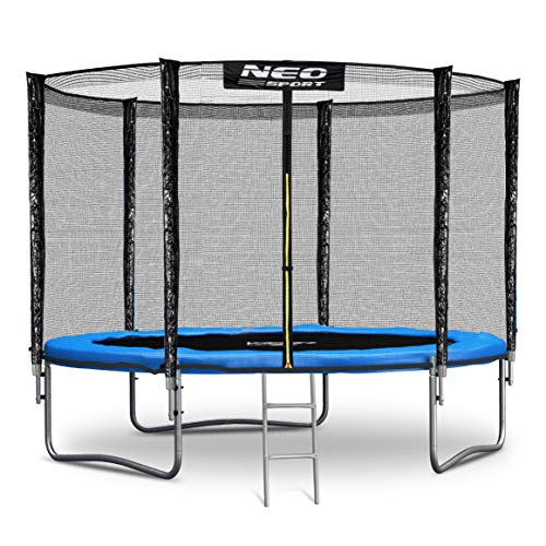 NeoSport Trampolin 244 cm 8 ft mit Sicherheitsnetz Außennetz und Einstiegsleiter Gartentrampolin