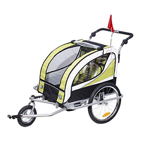 HOMCOM Kinderanhänger 2 in 1 Fahrradanhänger Kinder Jogger Anhänger für 2 Kinder Grün-Schwarz 155 x...