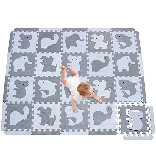 meiqicool Puzzlematte Spielmatte Baby Puzzleteppich Spielmatte Kinder Puzzelmatten Für Babys Puzzle...