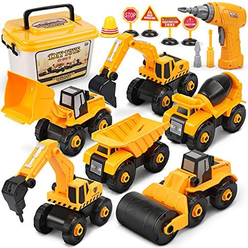 Dreamon Montage LKW Spielzeug, Bagger Spielzeug mit Elektro-Drill für Bagger sandkasten Kinder Jungen...