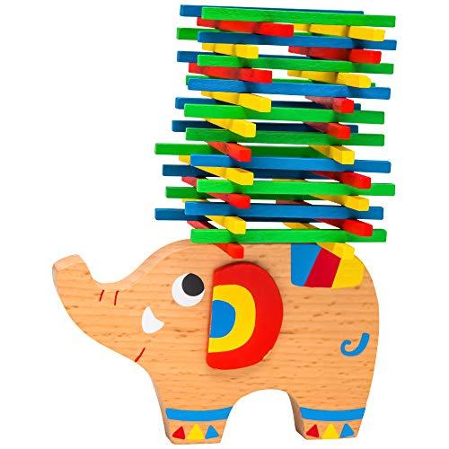 Natureich - Elefant Montessori Stapel-Spielzeug aus Holz