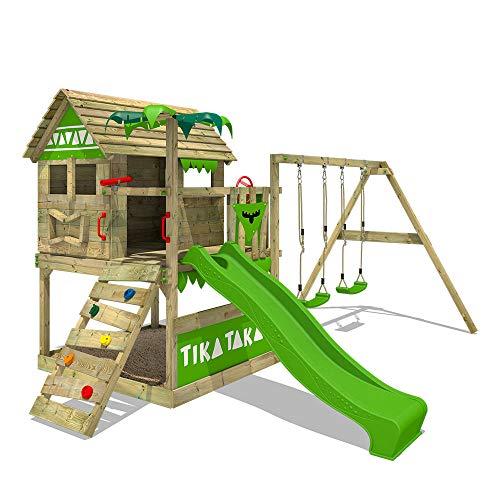 FATMOOSE Spielturm Klettergerüst TikaTaka mit Schaukel & apfelgrüner Rutsche, Stelzenhaus mit...