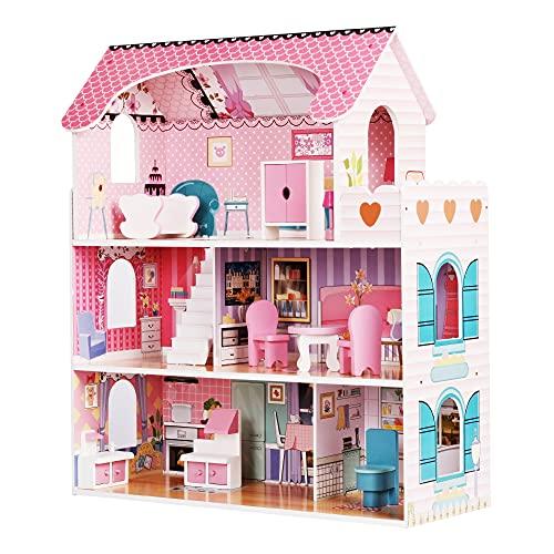wuuhoo® I Puppenhaus Mary aus Holz lichtdurchflutetet und modern, großzügig ausgestattet mit 5 Zimmern...