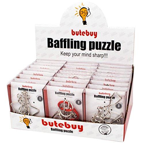 Likeluk Knobelspiel Klassiker Sets, 24 Stück IQ Puzzle 3D Set Knobelspiele Geduldspiele Rätselspiele...