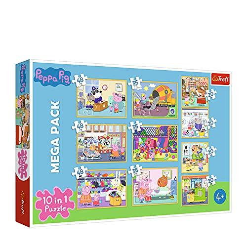 Trefl 90358 Wutz mit Freunden, 20 bis 48 Teilen, 10 Sets, für Kinder ab 4 Jahren Puzzle Peppa Pig,...