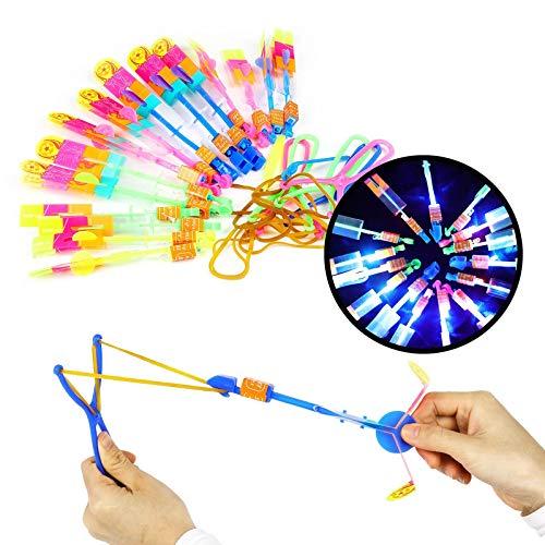 Herefun Hubschrauber Fliegen Spielzeug,15 Stücke Licht Hubschrauber Fliegen LED Katapult Heli...