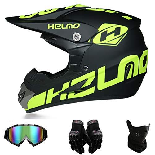 Amacigana® Motorbike ATV MTB Freien Sport Motorcycle Helmet Set,Motorradhelm Motocross Helm Kinder,MT-51...