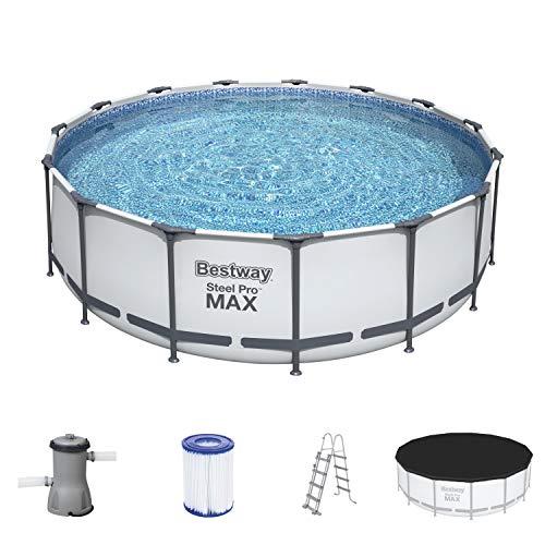 Bestway 56438 Steel Pro MAX Aufstellpool Komplett-Set mit Filterpumpe Ø 457 x 122 cm, grau, rund