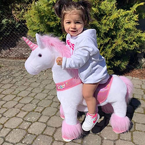PonyCycle Offizielle Klassisch U-Serie Reiten auf Einhorn Spielzeug Plüsch Lauftier Rosa Einhorn für...