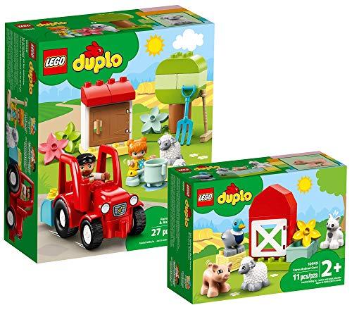 Collectix Lego DUPLO Set - Traktor und Tierpflege 10950 + Tierpflege auf dem Bauernhof 10949, Geschenkset...