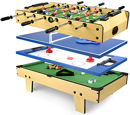 Leomark Multigame Mobile Spieltisch ~aus Holz ~Tischfußball, Billard, Hockey, Tischtennis 4in1,...