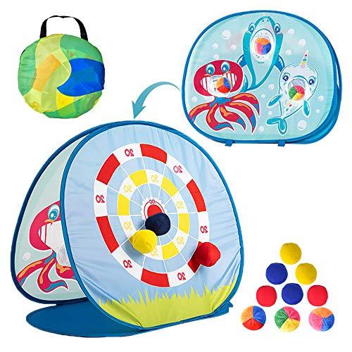 SAILFISH Sitzsackwurfspielzeug für Kleinkinder 3 4 5, doppelseitige Dartscheibe mit Hai-Thema, 6...