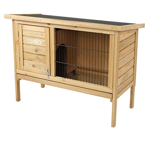 Timbo Hasenstall/Kaninchenstall Stella aus massivem Tannen-Holz in 92x45x70 cm - Kleintier-Stall für...