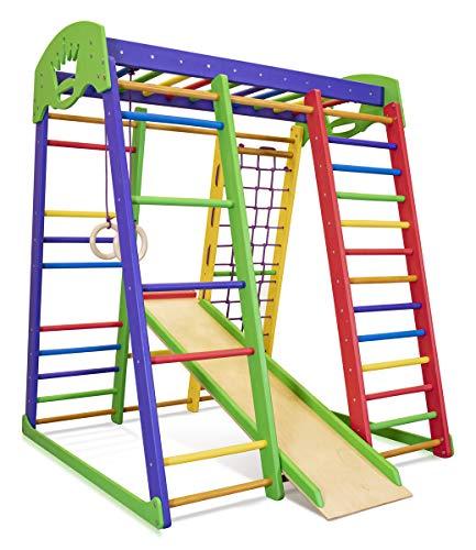 Kinder zu Hause aus Holz Spielplatz mit Rutschbahn ˝Akvarelka˝ Kletternetz Ringe Kletterwand...